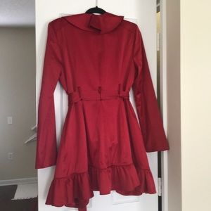 bebe Jackets & Coats - Bebe red satin coat